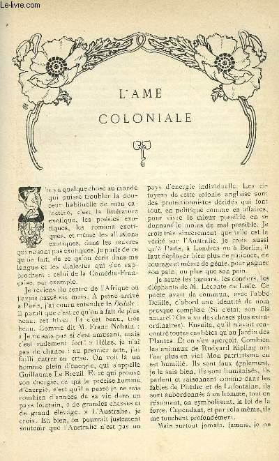 LE MONDE MODERNE TOME 19 - L'AME COLONIALE