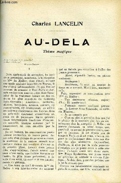 LE MONDE MODERNE - SUPPLEMENT CONSACRE AU ROMAN CONTEMPORAIN N°4 - AU-DELA