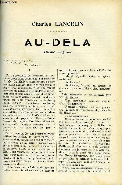 LE MONDE MODERNE - SUPPLEMENT CONSACRE AU ROMAN CONTEMPORAIN N°4 - AU-DELA