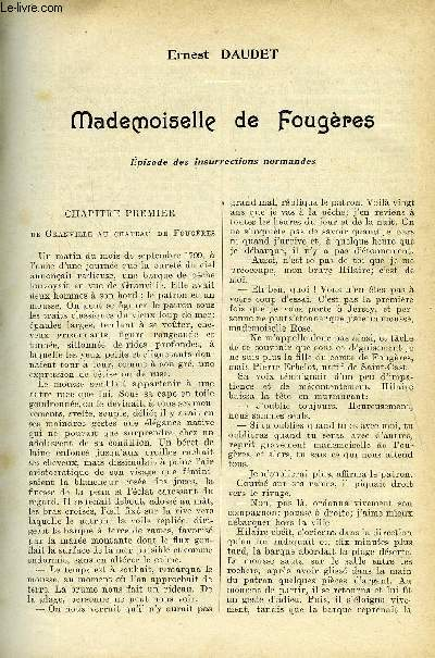LE MONDE MODERNE - SUPPLEMENT CONSACRE AU ROMAN CONTEMPORAIN N°5 - MADEMOISELLE DE FOUGERES