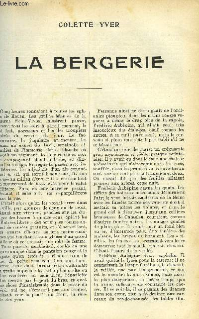 LE MONDE MODERNE - SUPPLEMENT CONSACRE AU ROMAN CONTEMPORAIN N°5 - LA BERGERIE
