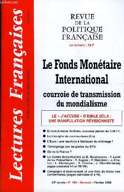 LECTURES FRANCAISES N° 490 - LE FONDS MONETAIRE INTERNATIONAL COURROIE DE TRANSMISSION DU MONDIALISME, LE