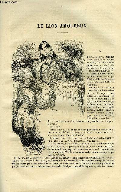 EXTRAIT DE LA REVUE PITTORESQUE, MUSEE LITTERAIRE ILLUSTRE PAR LES PREMIERS ARTISTES TOME 2 - LE LION AMOUREUX