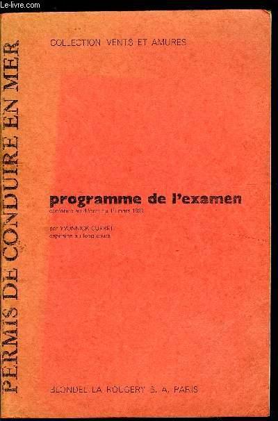 PERMIS DE CONDUIRE - PROGRAMME DE L'EXAMEN
