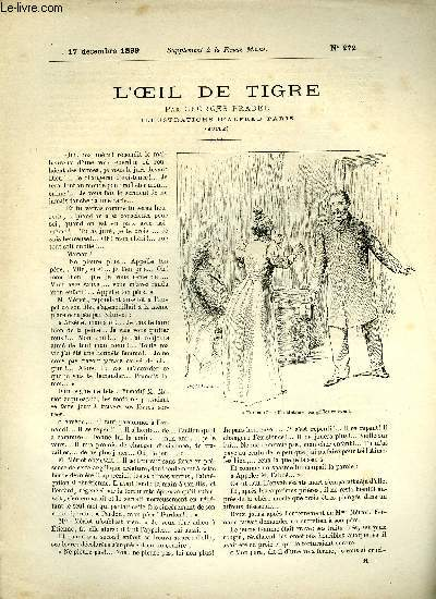 SUPPLEMENT A LA REVUE MAME N° 272 - L'oeil de tigre (fin) par Georges Pradel, illustrations d'Alfred Paris