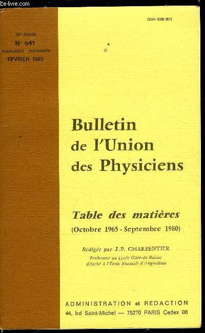 Bulletin de l'union des physiciens n° 641 - Table des matières (octobre 1965-septembre 1980) par J.P. Charpentier