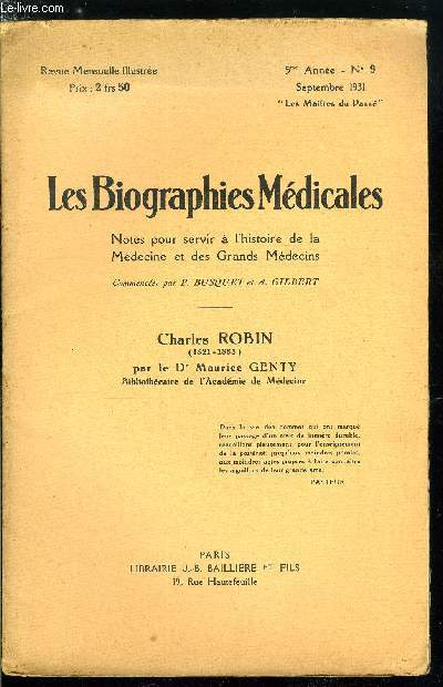 Les biographies médicales n° 9 - Robin Charles-Philippe (1821-1885)