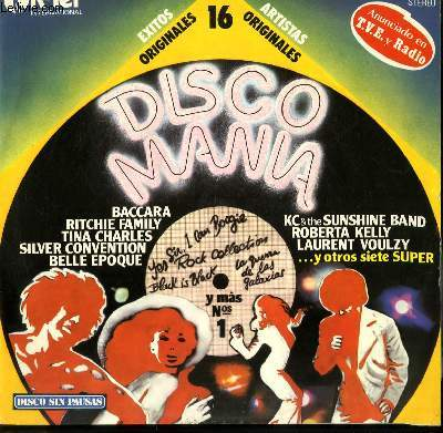 DISQUE VINYLE 33T DISCO MANIA FLY ROBIN FLY / GET UP BOOGIE / SOUL DRACULA / ROCK COLLECTION / QUIET VILLAGE / I LOVE TO LOVE / GIVE ME MORE LOVE / SPRING RAIN...