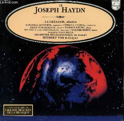DISQUE VINYLE 33T LA CREATION, SELECTION.PAR L'ORCHESTRE PHILHARMONIQUE DE BERLIN SOUS LA DIRECTION DE HERBERT VAN KARAJAN.