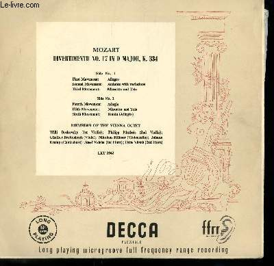 DISQUE VINYLE 33T DIVERTIMIENTO N°17 IN D MAJOR, K 334. ALLEGRO / ANDANTE WITH VARIATIONS / MINUETTO AND TRIO / ADAGIO / MINUETTO AND TRIO / RONDO..
