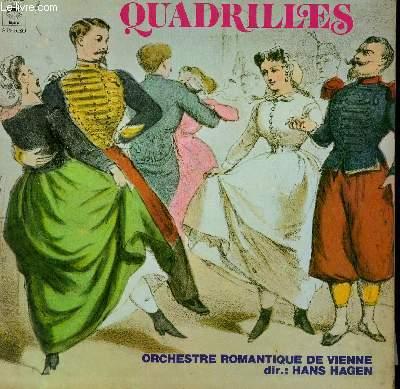 DISQUE VINYLE 33T QUADRILLES. QUADRILLES DE LA CHAUVE SOURIS DE J. STRAUSS / QUADRILLE DE LA BELLE HELENE DE E. STRAUSS / QUADRILLE AMERICAIN DE J. STRAUSS / QUADRILLE DES LANCIERS DE R. HEUBERGER... PAR L'ORCHESTRE ROMANTIQUE DE VIENNE.