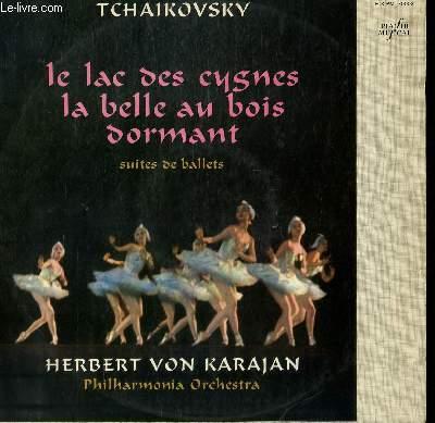 DISQUE VINYLE 33T LE LAC DES CYGNES / LA BELLE AU BOIS DORMANT. SUITES DE BALLETS. PAR L'ORCHESTRE PHILHARMONIQUE DIRIGE PAR HERBERT VON KARAJAN.