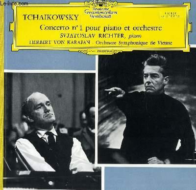 DISQUE VINYLE 33T CONCERTO N°1 POUR PIANO ET ORCHESTRE PAR L'ORCHESTRE SYMPHONIQUE DE VIENNE SOUS LA DIRECTION DE HERBERT VON KARAJAN , AVEC SVATOSLAV RICHTER AU PIANO.