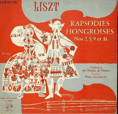 DISQUE VINYLE 33T RAPSODIES HONGROISES N° 2, 3, 9 ET 14. PAR L'ORCHESTE DE L'OPERA DE VIENNE SOUS LA DIRECTION DE HANS SWAROWSKY.