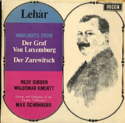 DISQUE VINYLE 33T / HIGHLIGHTS FROM DER GRAF VON LUXEMBOURG / DER ZAREWITSCH