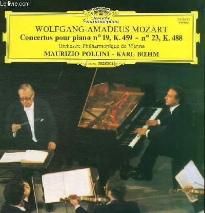 DISQUE VINYLE 33T CONCERTOS POUR PIANO N°19, K.459 - N°23, K.488.