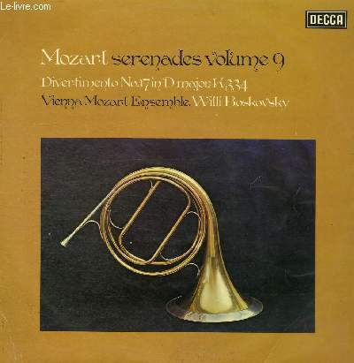 DISQUE VINYLE 33T SERENADES VOLUME 9, DIVERTIMENTO.