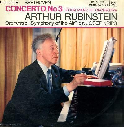 DISQUE VINYLE 33T CONCERTO N°3 POUR PIANO ET ORCHESTRE EN UT MINEUR.