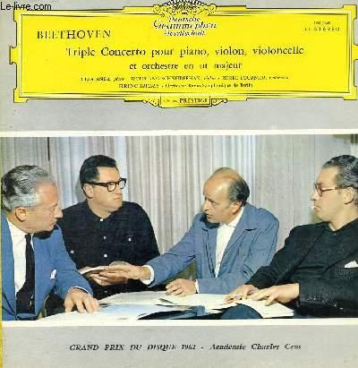 DISQUE VINYLE 33T TRIPLE CONCERTO POUR PIANO, VIOLON, VIOLONCELLE ET ORCHESTRE EN UT MAJEUR.