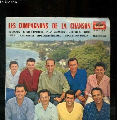 DISQUE VINYLE 33T LES COMEDIENS, LE COEUR EN BANDOULIERE, L'ENFANT AUX CIMBALES, A NOS AMOURS, KALINKA, PEGGY O, D'AUTRES AVANT TOI, CHEVEUX FOUS ET LEVRES ROSES, COMPAGNONS DE LA MARJOLAINE, AMOUR BRESILIEN.