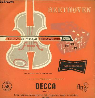 DISQUE VINYLE 33T CONCERTO IN D MAJOR FOR VIOLIN AND ORCHESTRA.