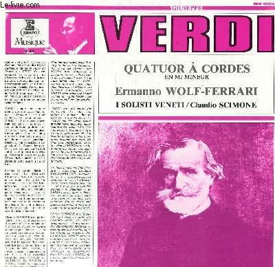 DISQUE VINYLE 33T QUATUOR A CORDES EN MI MINEUR, ERMANO WOLF-FERRARI.