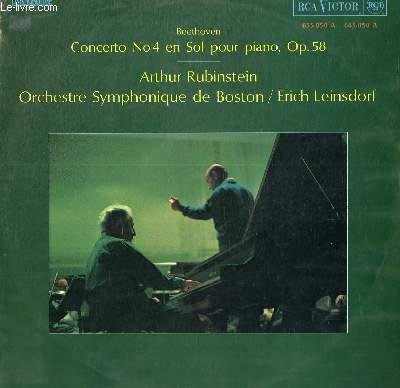 DISQUE VINYLE 33T CONCERTO N°4 EN SOL POUR PIANO, OPUS 58.