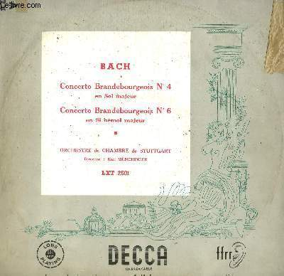 DISQUE VINYLE 33T CONCERTO BRANDEBOURGEOIS N°4, CONCERTO BRANDEBOURGEOIS N°6.