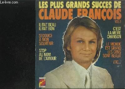 DISQUE VINYLE 33T : LES LPUS GRANDS SUCCES DE CLAUDE FRANCOIS VOL.2