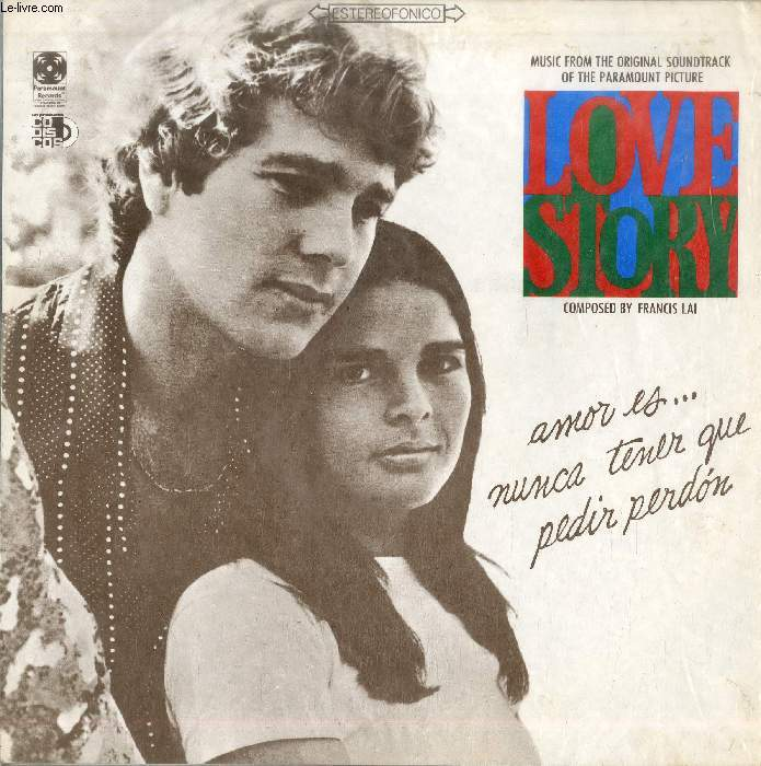 DISQUE VINYLE 33T : LOVE STORY - Theme From Love Story, Snow Frolic, Mozart: Sonata In F Major (Allegro), I Love You, Phil, The Christmas Trees, Search For Jenny (Theme From Love Story), Bozo Barrett (Theme From Love Story), Skating In Central Park...