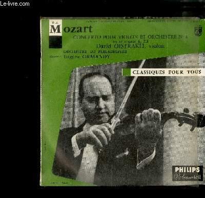 DISQUE VINYLE 33T MICROSILLON : Concerto pour violon et orchestre n°4 en ré majeur k. 218