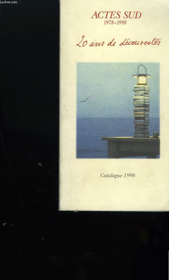 CATALOGUE DE LIVRES AVRIL 1978 - AVRIL 1998.  20 ANS DE DECOUVERTES.