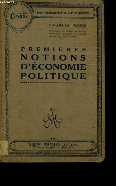 PREMIERES NOTIONS D'ECONOMIE POLITIQUE.