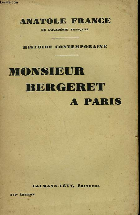MONSIEUR BERGERET A PARIS.
