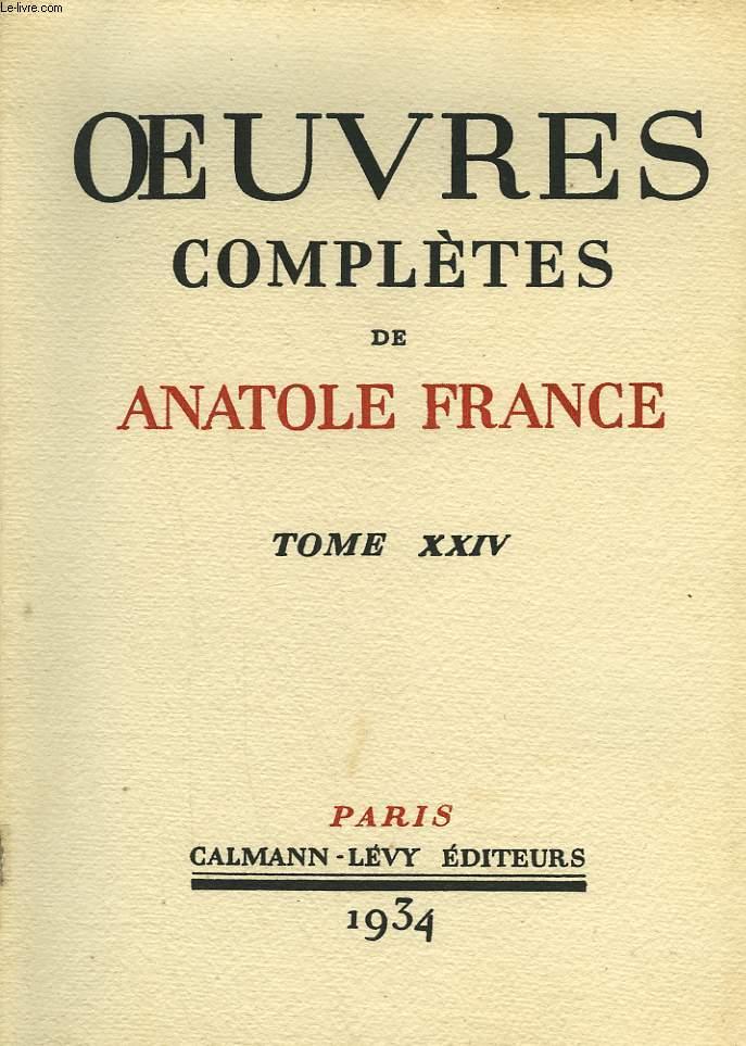 OEUVRES COMPLETES ILLUSTREES DE ANATOLE FRANCE. TOME 24 : PAGES D'HISTOIRE ET DE LITTERATURE. TOME 1.