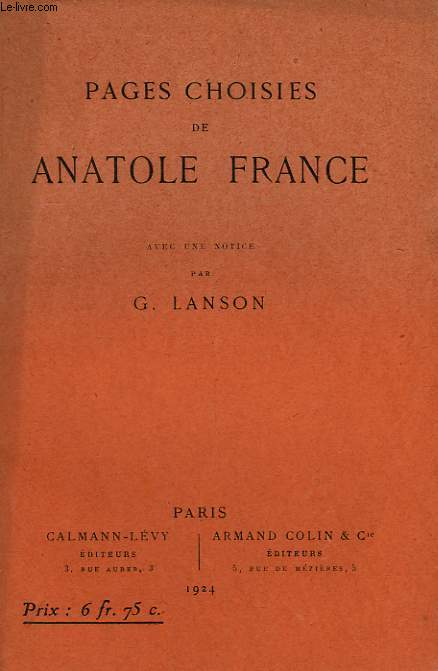 PAGES CHOISIES PAR ANATOLE FRANCE.