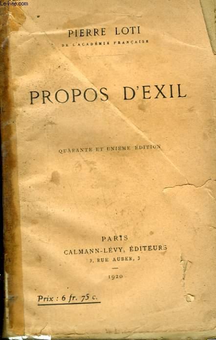 PROPOS D'EXIL.