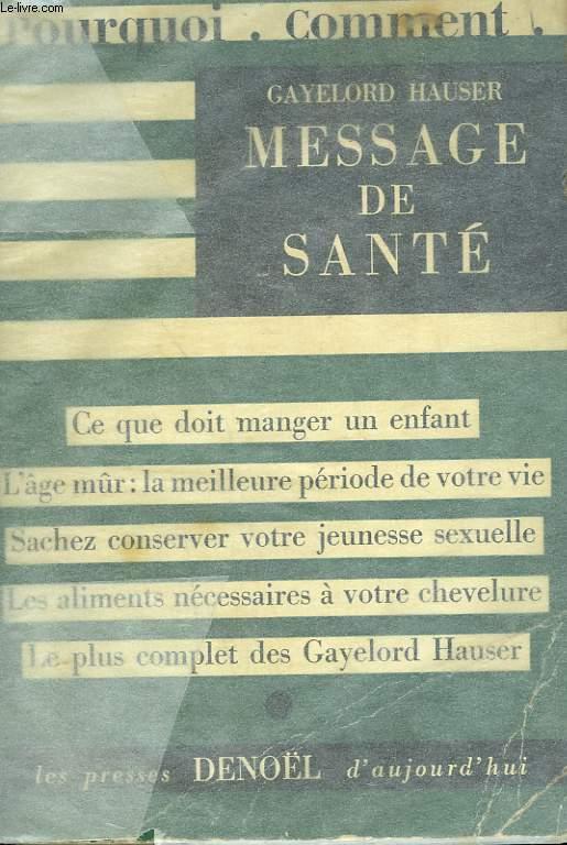 MESSAGE DE SANTE.