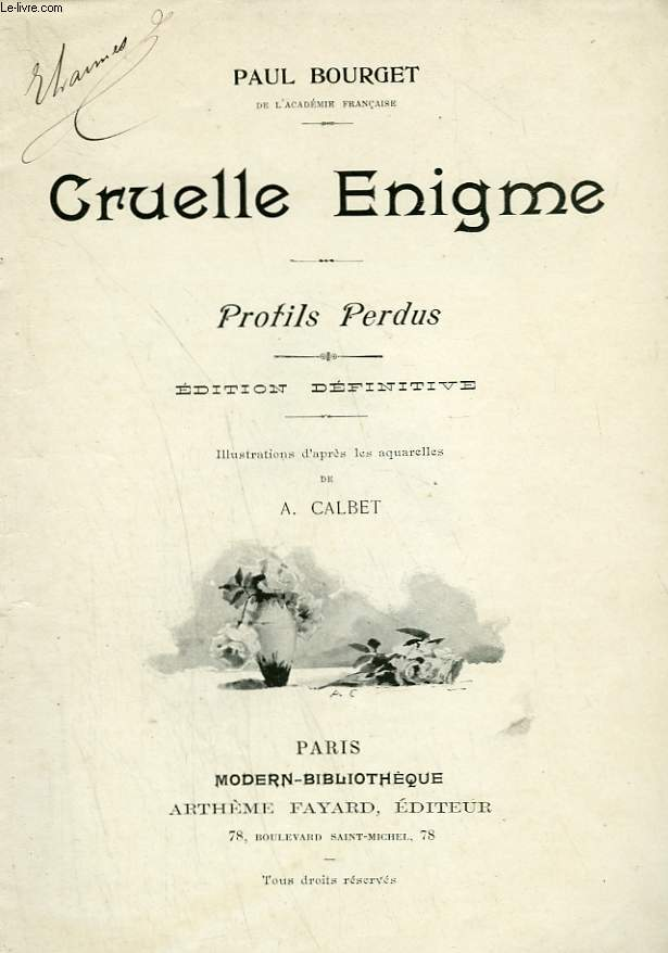 CRUELLE ENIGME. PROFILS PERDUS. COLLECTION MODERN BIBLIOTHEQUE.