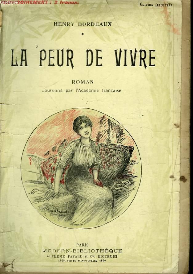 LA PEUR DE VIVRE. ROMAN. COLLECTION MODERN BIBLIOTHEQUE.