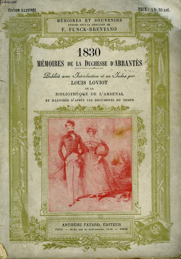 1830 MEMOIRES DE LA DUCHESSE D'ABRANTES.