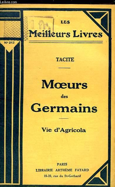MOEURS DES GERMAINS - VIE D'AGRICOLA