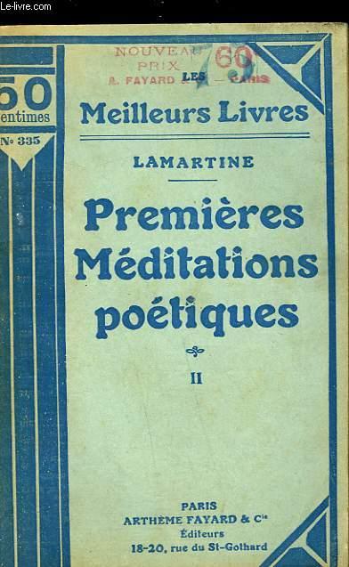 PREMIERES MEDITATIONS POETIQUES - TOME 2