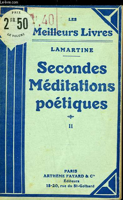 SECONDES MEDITATIONS POETIQUES - TOME 2