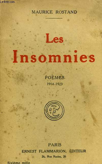 LES INSOMNIES. POEMES 1914 - 1923.
