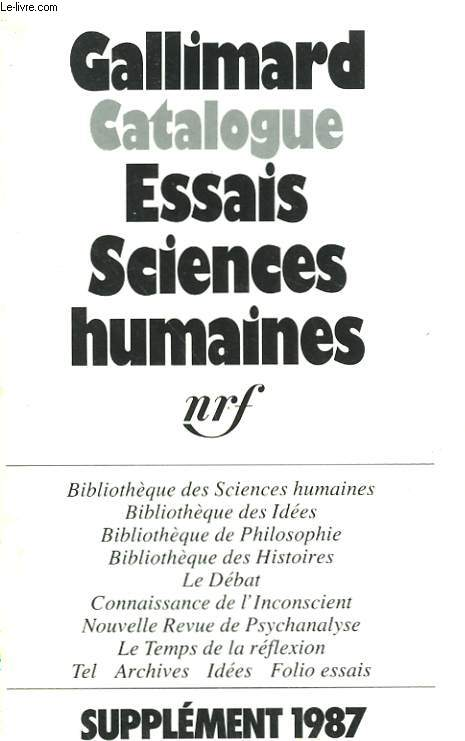 CATALOGUE ESSAIS, SCIENCES HUMAINES. SUPPLEMENT 1987.