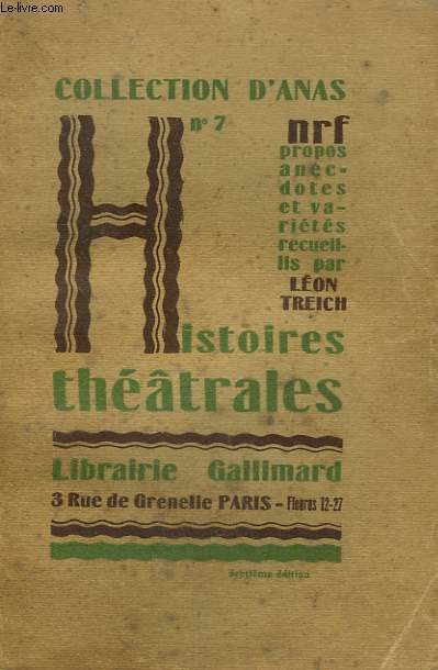 HISTOIRES THEATRALES. COLLECTION D'ANAS N° 7