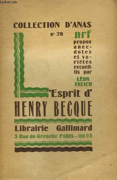 L'ESPRIT D'HENRY BECQUE. COLLECTION D'ANAS N° 28