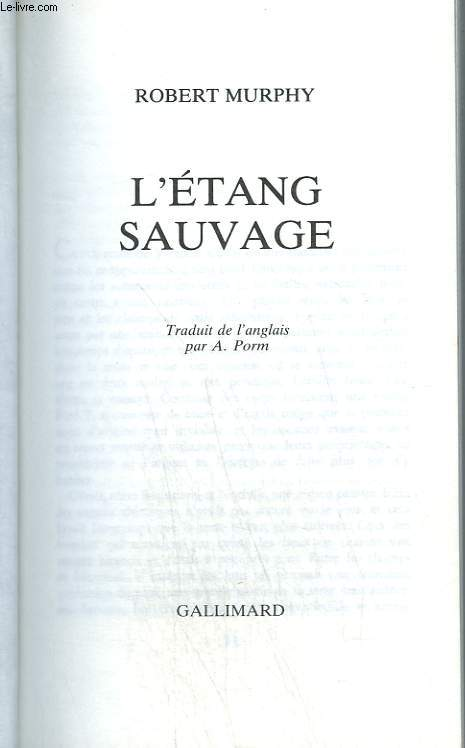 L etang sauvage. collection : 1 000 soleils.