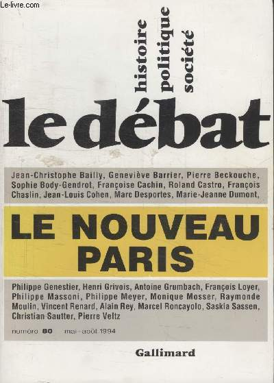 COLLECTION LE DEBAT N° 80.LE NOUVEAU PARIS.